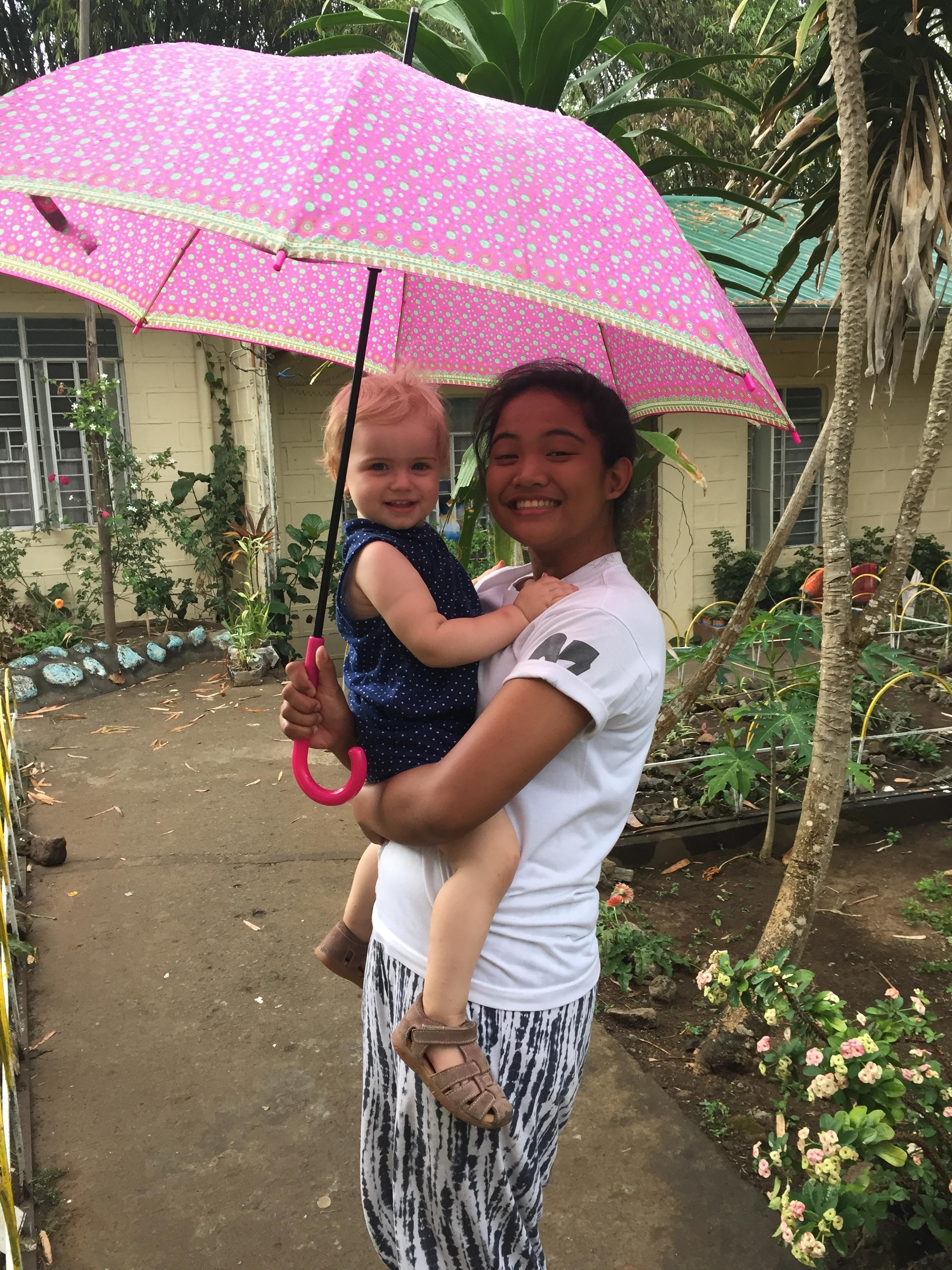 Paraply i småregn - hyggeligt