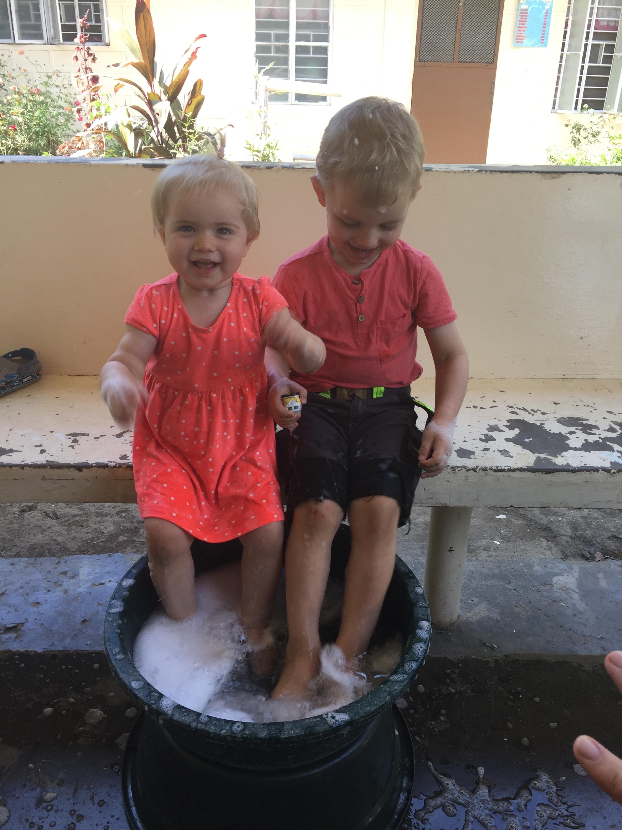 Fodbad på vores terrasse
